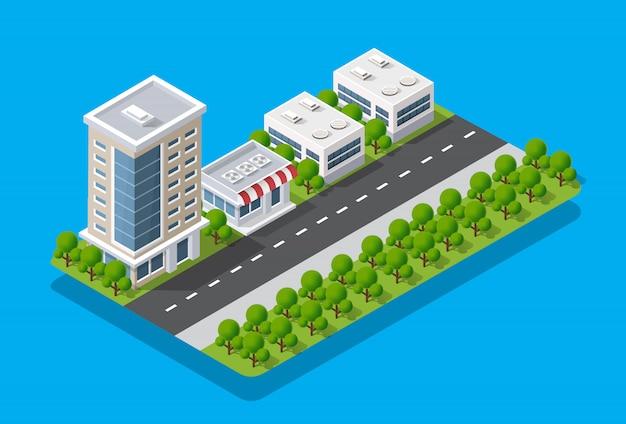 Isometrische weergave van de stad. collectie huizen
