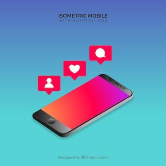 Isometrische weergave van mobiele telefoon met instagram post