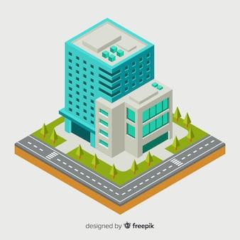 Isometrische weergave van modern kantoorgebouw