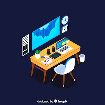 Isometrische weergave van moderne kantoor bureau met platte ontwerp