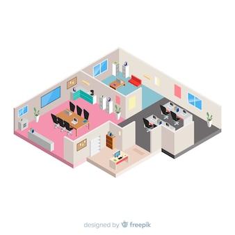 Isometrische weergave van moderne kantoor interieur