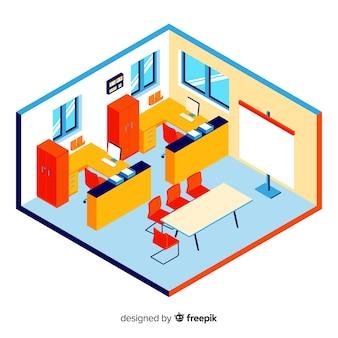 Isometrische weergave van professionele kantoorinterieur