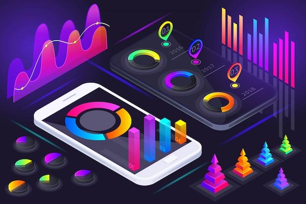 Isometrische weergave van smartphonescherm, holografische kleurrijke diagrammen, grafieken, analyses, rapporten, winst, marktleiderschap