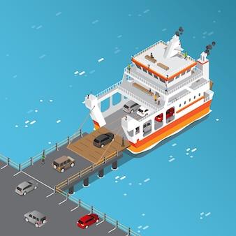 Isometrische weergave van veerboot laden van voertuigen