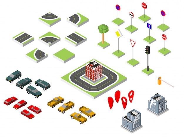 Isometrische weg en vector auto's instellen, gemeenschappelijke verkeers regelgevende, gebouw met een windows en air-conditioning.