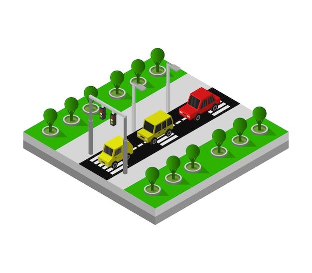 Isometrische weg met autoverkeer