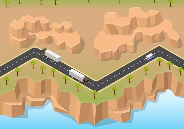 Isometrische weg tussen rivier en rots