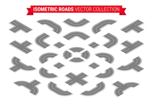 Isometrische wegen ingesteld. 3d weg snelweg elementen collectie voor het maken van stadsplattegrond geïsoleerd op een witte achtergrond.