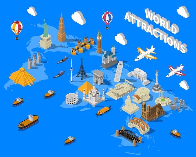 Isometrische wereld beroemde bezienswaardigheden kaart post