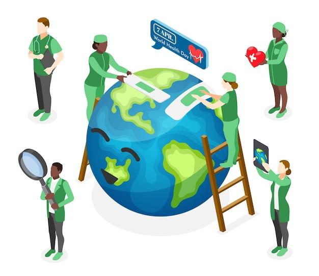 Isometrische wereldgezondheidsdagillustratie met artsen die gelukkige aarde genezen
