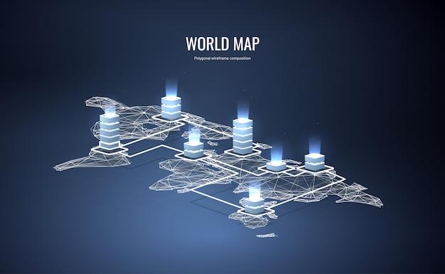 Isometrische wereldkaart in veelhoekige wireframe-stijl