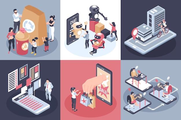 Isometrische wereldwijde samenstelling van consumententrends