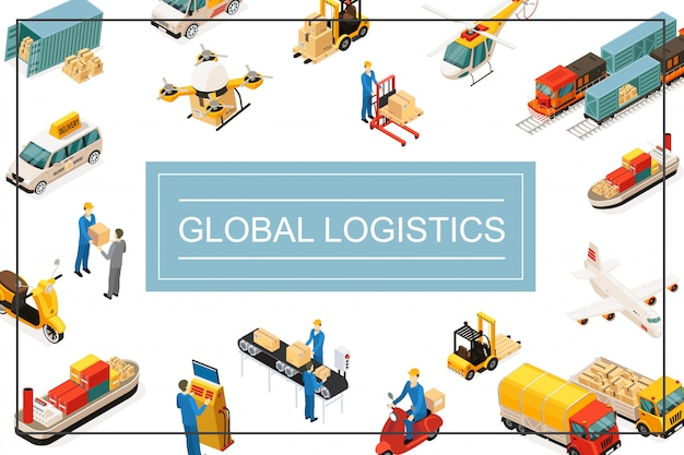 Isometrische wereldwijde transportsamenstelling met helikopter drone vrachtwagen vliegtuig vrachtwagens heftruck scooter container auto verpakkingslijn opslagmedewerkers