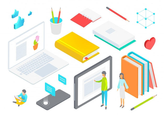 Isometrische werk levert briefpapier illustratie. cartoon kleine man vrouw zakelijke kantoormedewerker mensen staan naast laptop, tablet, stapel dagboekboeken, potlood kladblok op wit