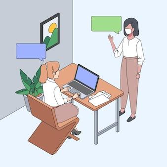 Isometrische werkdag illustratie