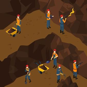 Isometrische werkende mijnwerker mensen concept
