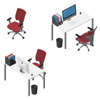 Isometrische werkplek met computer