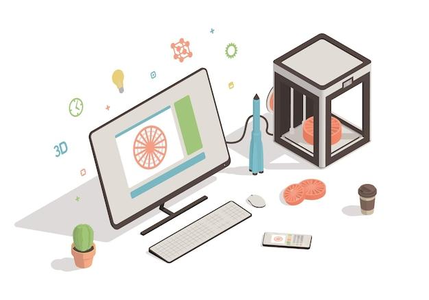 Isometrische werkruimte met 3d-printer en computer