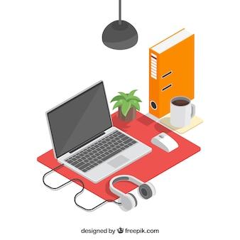 Isometrische werkruimte met bedrijfsstijl