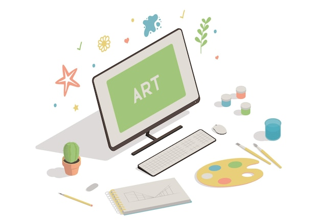Isometrische werkruimte met computerillustratie