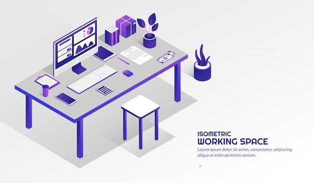 Isometrische werkruimte met elementen op de tafel
