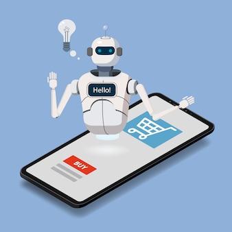 Isometrische wetenschap chat bot, smartphone concept. online winkelassistent