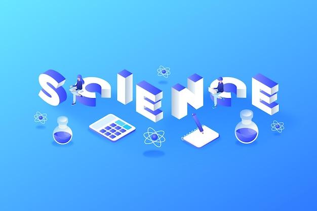 Isometrische wetenschap woord concept met elementen instellen