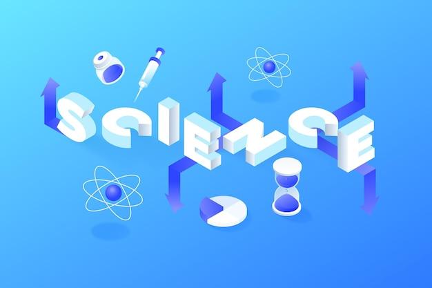 Isometrische wetenschap woord concept met elementen pack