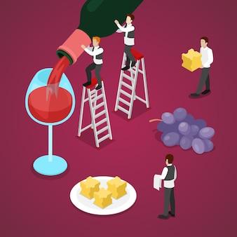 Isometrische wijndegustatie met fles, druif en kleine sommelier. vector 3d platte illustratie
