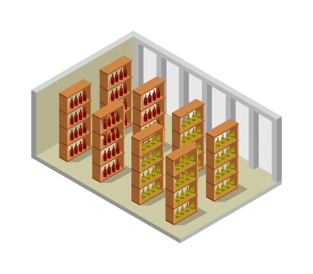 Isometrische wijnkelder
