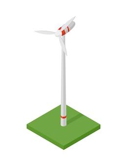 Isometrische windturbine. concept van schone energie. schone ecologische kracht. hernieuwbare elektrische energie