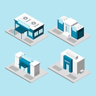 Isometrische winkel collectie concept
