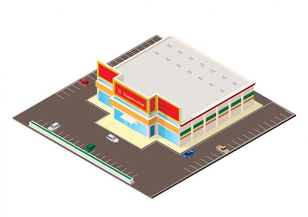 Isometrische winkelcentrum of supermarkt gebouw pictogram