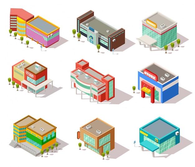 Isometrische winkelcentrum, winkel, winkel en supermarktgebouwen