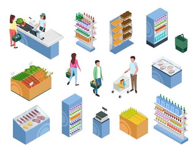 Isometrische winkelende mensen klanten met manden trolley karren bij supermarkt kassa set