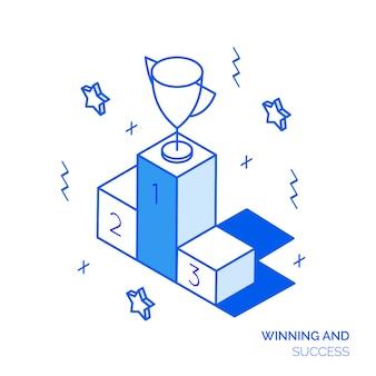 Isometrische winnende concept