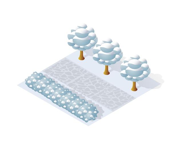 Isometrische winter park met sneeuw, bomen