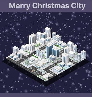 Isometrische winterstad