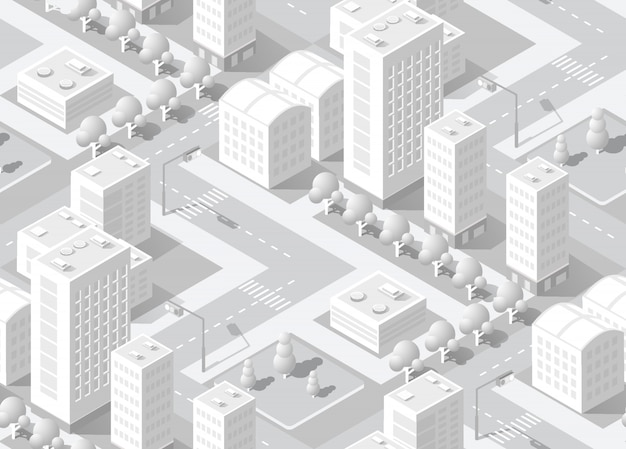Isometrische witte stad