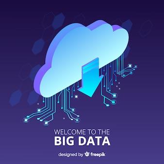 Isometrische wolk big data achtergrond