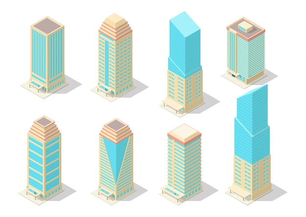 Isometrische wolkenkrabber bouwset