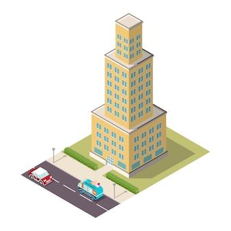 Isometrische wolkenkrabber met een weg en auto's.