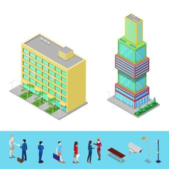 Isometrische wolkenkrabber stad kantoorgebouw met mensen uit het bedrijfsleven.