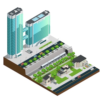 Isometrische wolkenkrabbers en huizen in de voorsteden dichtbij de vectorillustratie van de spoorwegtunnelsamenstelling