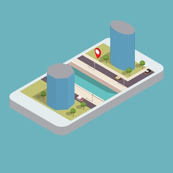 Isometrische wolkenkrabbers op de oever van de rivier met de weg en telefoon. smartphone mobiele gps-navigatie.