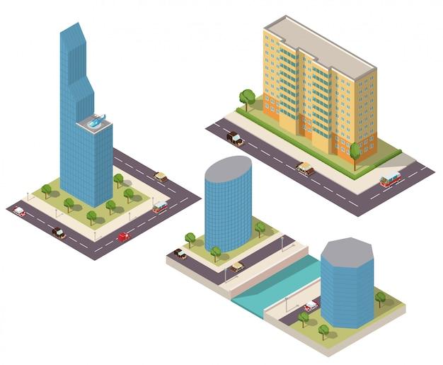 Isometrische wolkenkrabbers van een gebouw met wegen en auto's.