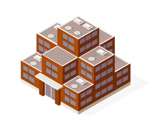 Isometrische woningbouw wolkenkrabber concept