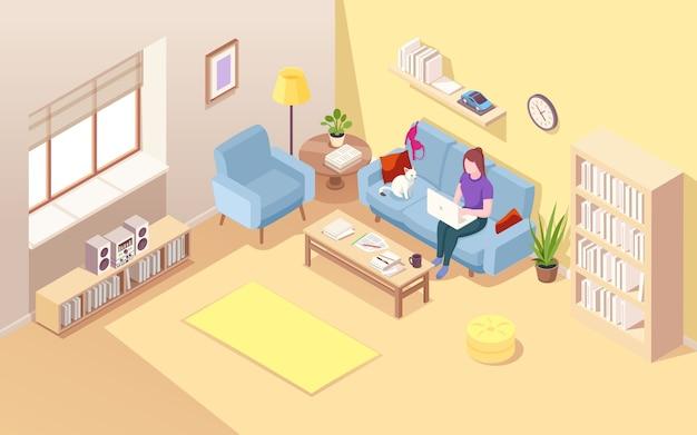 Isometrische woonkamer met freelancer van de vrouw
