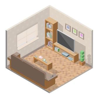 Isometrische woonkamer