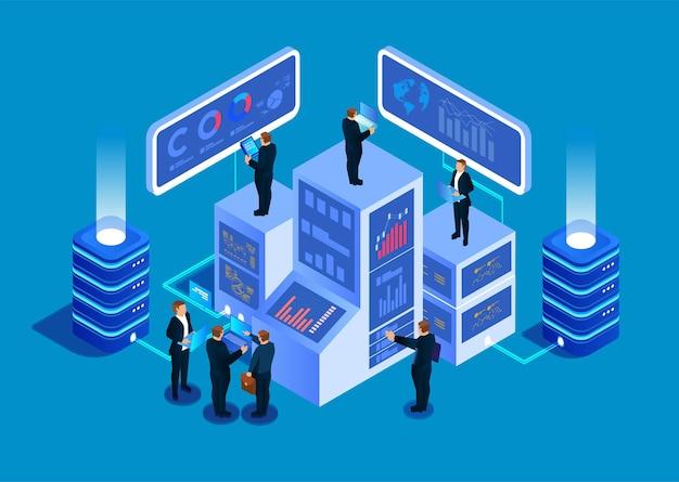 Isometrische zakelijke big data management service en data-analyse concept stock illustratie